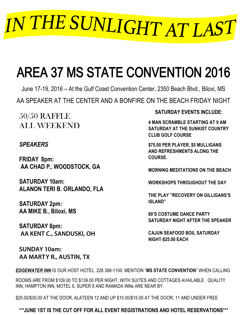 Area 37 Convention 2016 Oxford Ms Aa