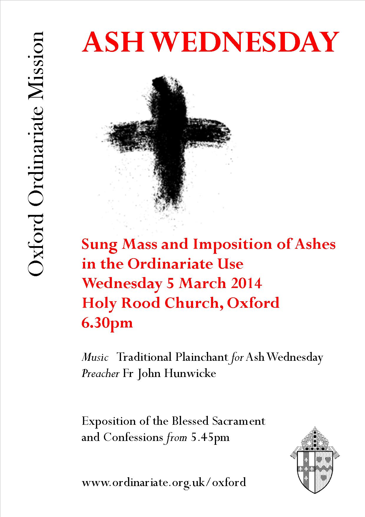 Ash Wednesday 5 March