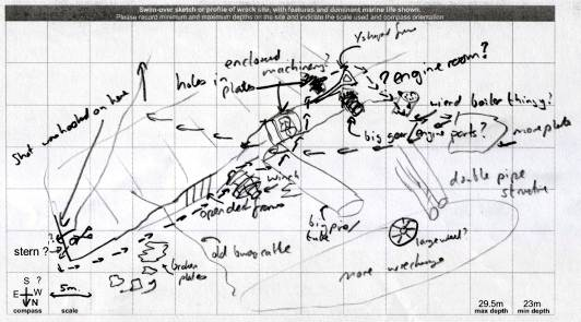 Crude sketch plan of the wreck