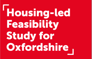"""Red background and text: """"Housing-led feasibility study for Oxfordshire"""""""