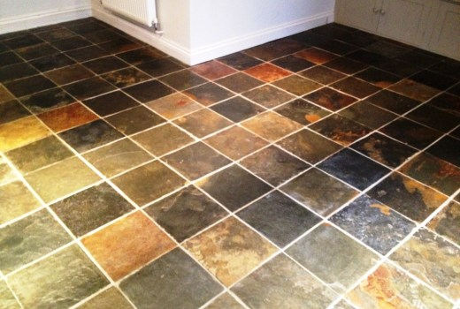 Coloured Slate Tiled Floor Barnard Gate After Cleaning