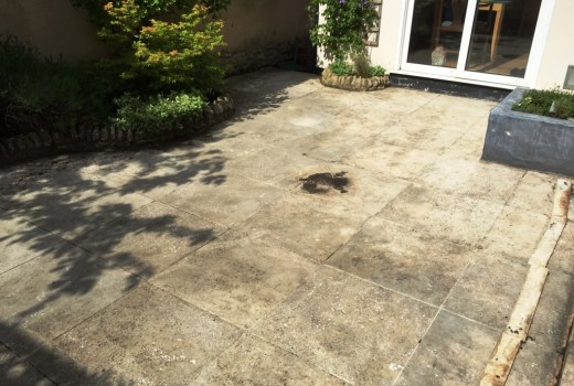 Limestone Patio Before Cleaning Haddenham