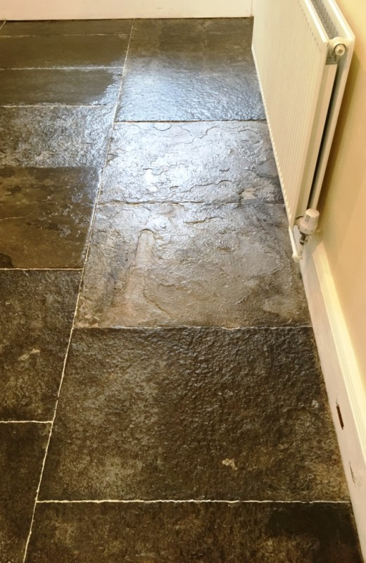 Old Slate Flagstone floor after cleaning Banbury