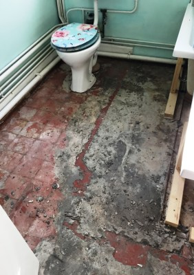 Quarry Tiled Floor Oxford Before Restoration