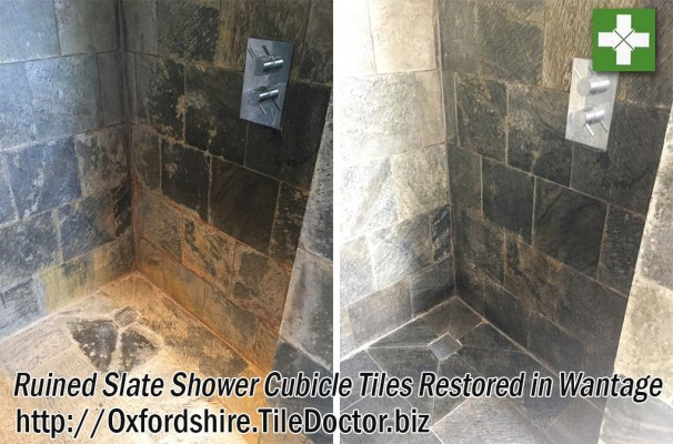 Slate Shower Cubicle Tiles Before and After Restoration in Wantage