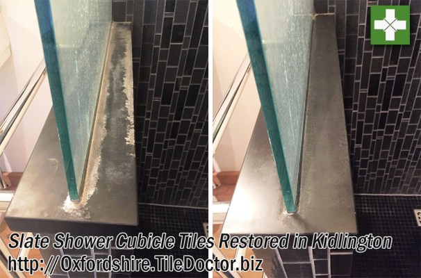Slate Tiled Shower Before and After Restoration in Kidlington