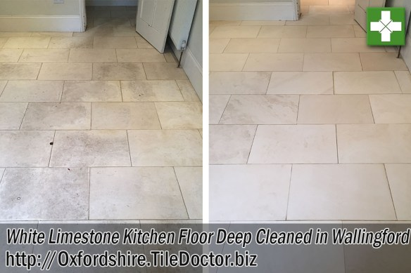 White Limestone Kitchen Floor Before and After Cleaning and Sealing in Wallingford