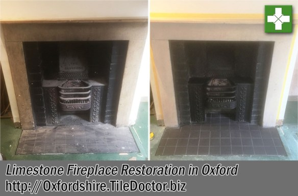 Limestone Fireplace Before and After Restoration Oxford