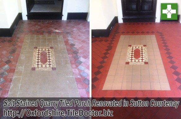 Salt Stained Quarry Tiled Porch Cleaned Sealed Sutton Courtenay