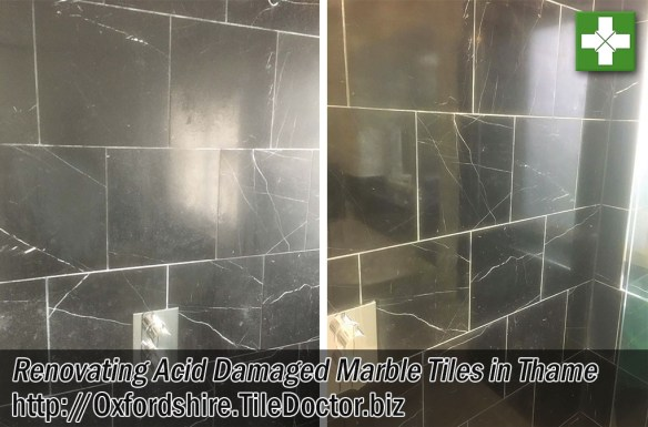 Black Negro Marquina Marble Shower Tile Before After Polishing Thame