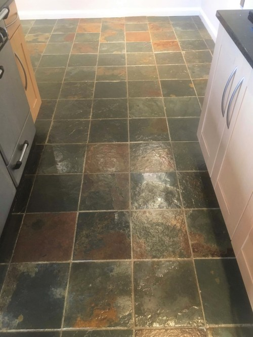 Coloured Slate Floor Tiles After Cleaning Abingdon