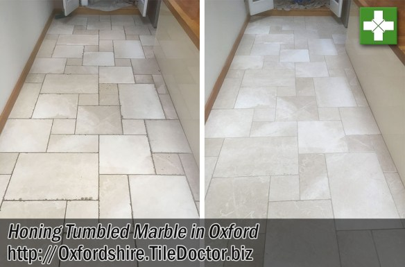 Tumbled Marble Tiled Floor Before After Honing Oxford