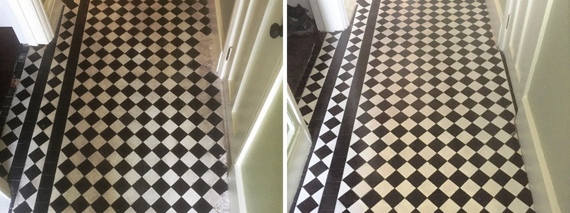 Chequered Victorian Hallway Floor Tile Before After Restoration Oxford