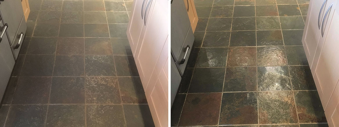 Coloured Slate Floor Tiles Before After Cleaning Abingdon