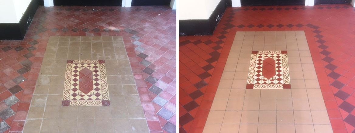 Large Victorian Quarry Tiled Porch Before After Cleaning Sutton Courtenay