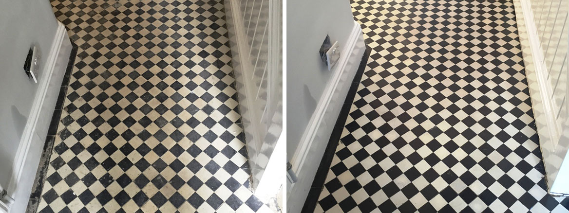 Victorian Tiled Floor Before After Cleaning Oxford