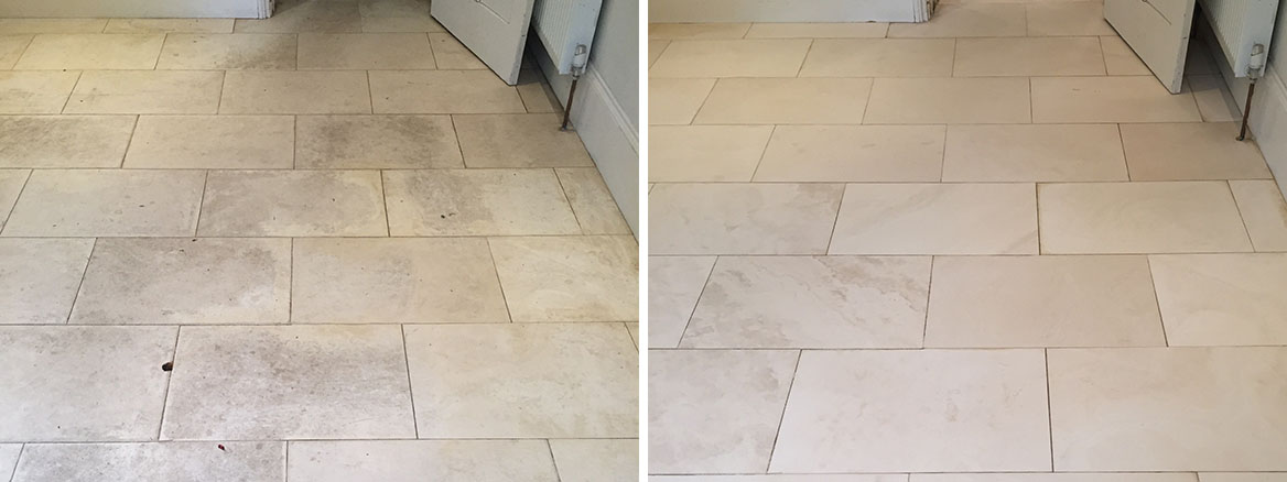 White Limestone Floor Wallingford Before After Cleaning