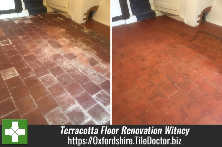 Terracotta Tiled Floor Before After Renovation Witney