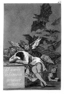 """Eine der Abb. im Buch: Francisco de Goya """"Der Schlaf der Vernunft gebiert Ungeheuer"""""""