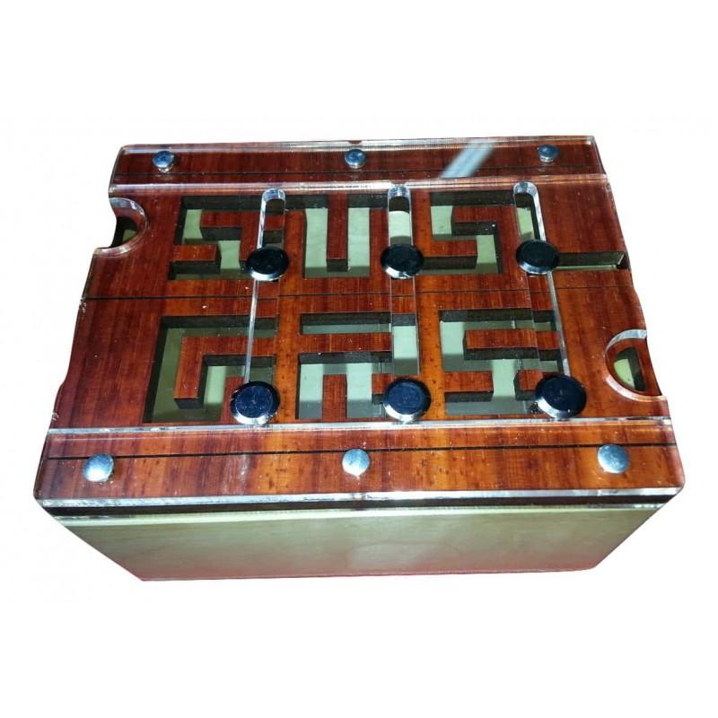 casse tete boite labyrinthe en bois 6 tiges
