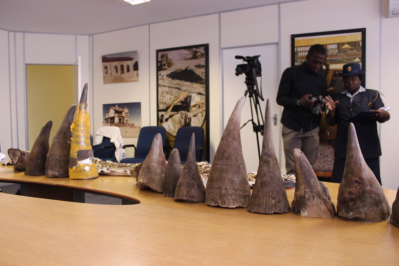 Rhino horns confiscated from the Chinese couriers at Windhoek's airport