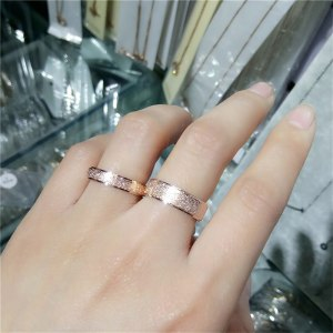 Golden Color Frosted Finger Ring For Woman Man Wedding Jewelry Titanium Steel Top Quality Simple Rings Size 5-9 Wedding Bands