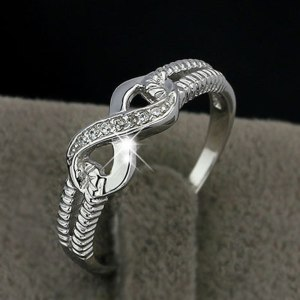 Infinity Pattern Pave Setting Ring Silver Color Wedding Engagement Ring Woman Valentines Day Birthday Gift Luxury Jewelry