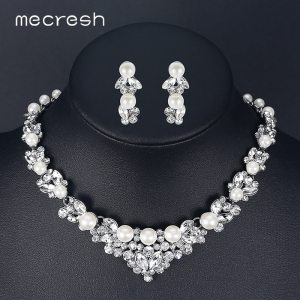 Mecresh Elegant Simulated Pearl Bridal Jewelry Sets Leaf Crystal Necklaces Earrings Sets Wedding Jewelry TL280