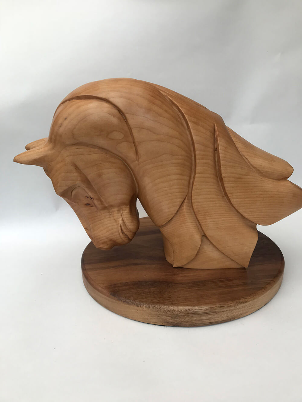 Bust of a Horse in Lime mounted on a Walnut-Plinth