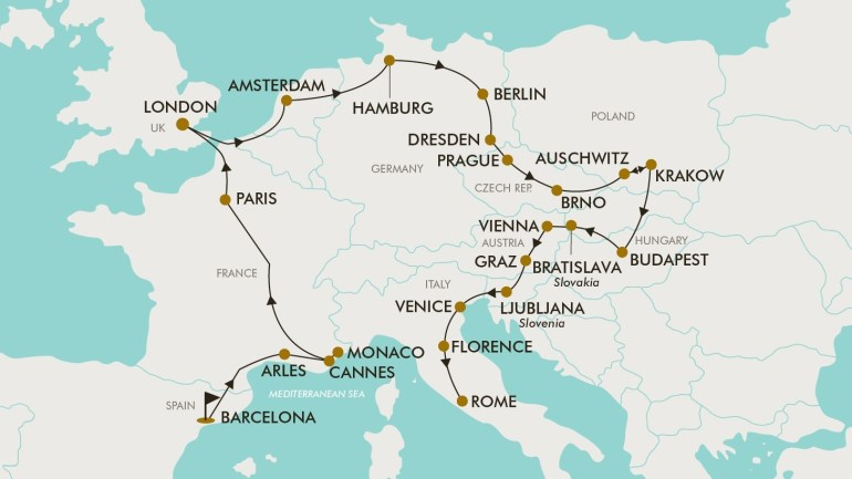 30 Day Grand Europe | Tripadeal for Map Of Germany Austria And Czech Republic