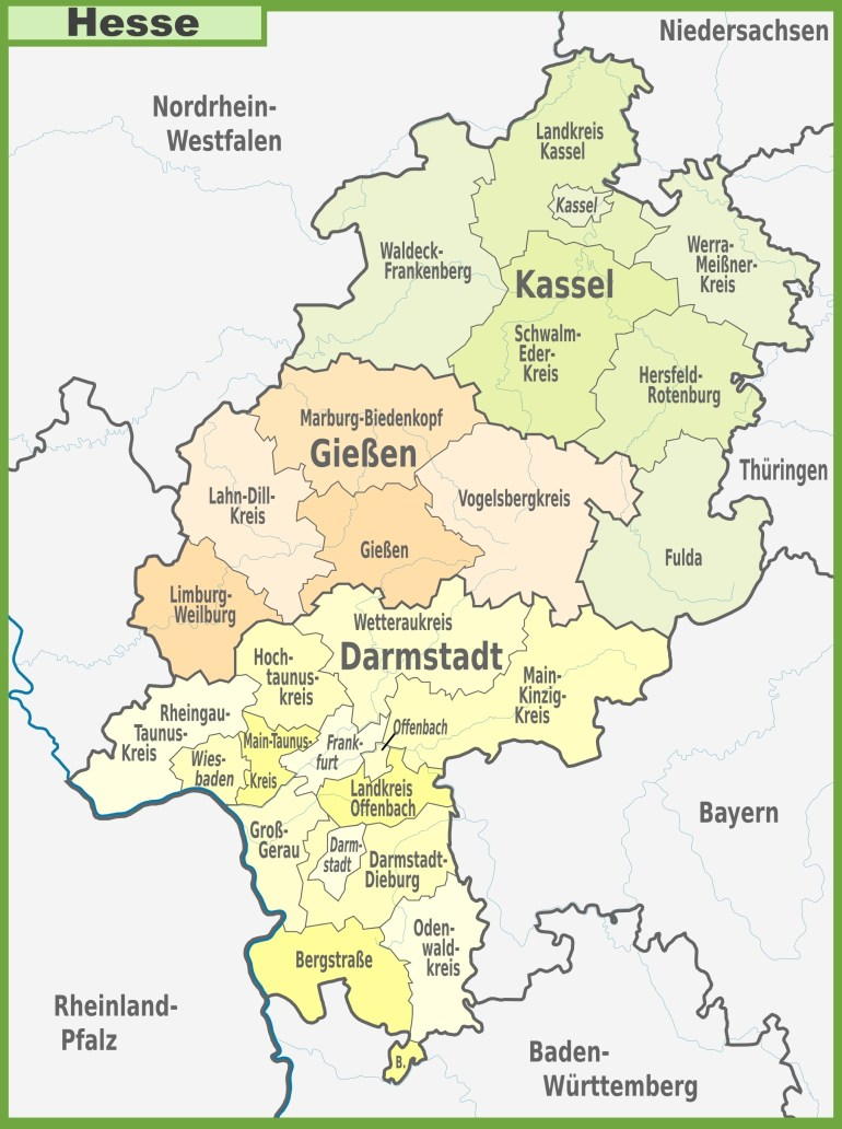 Administrative Divisions Map Of Hesse throughout Kassel Hessen Germany Map