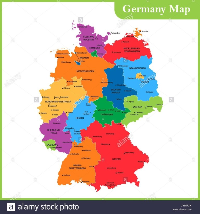 Administrative Map Germany Division Stock Photos & Administrative within German Map With States And Capitals