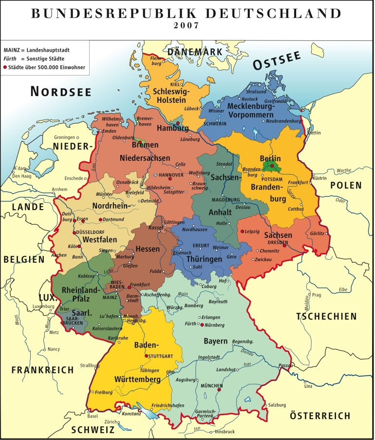 Administrative Map Of Germany (Deutsch) | Maps | Germany Travel for Map Of Germany Showing Freiburg