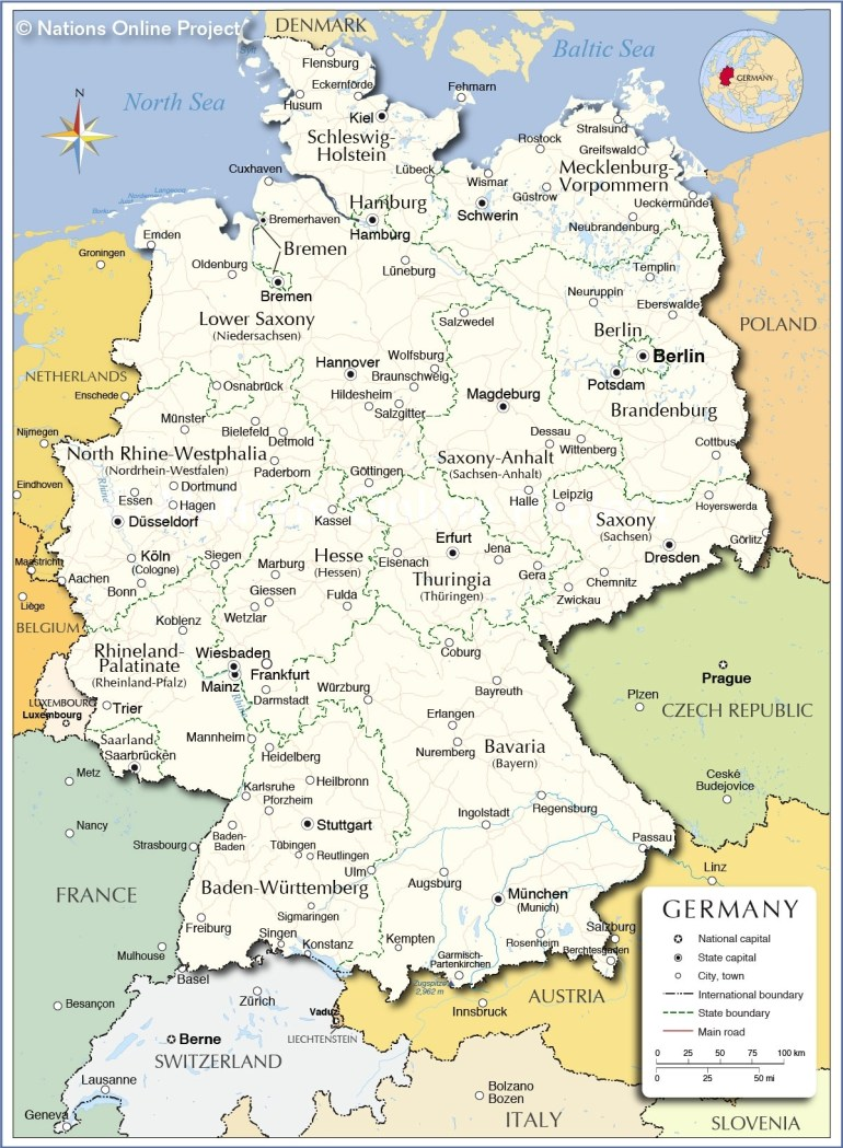 Administrative Map Of Germany - Nations Online Project with German States And Capitals Map