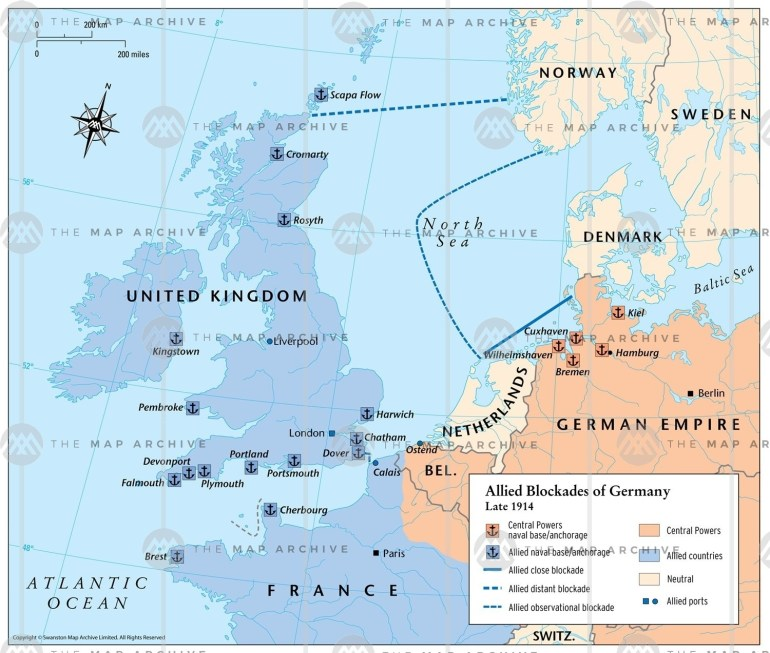 Allied Blockades Of Germany Late 1914 for Bremen Port Germany Map