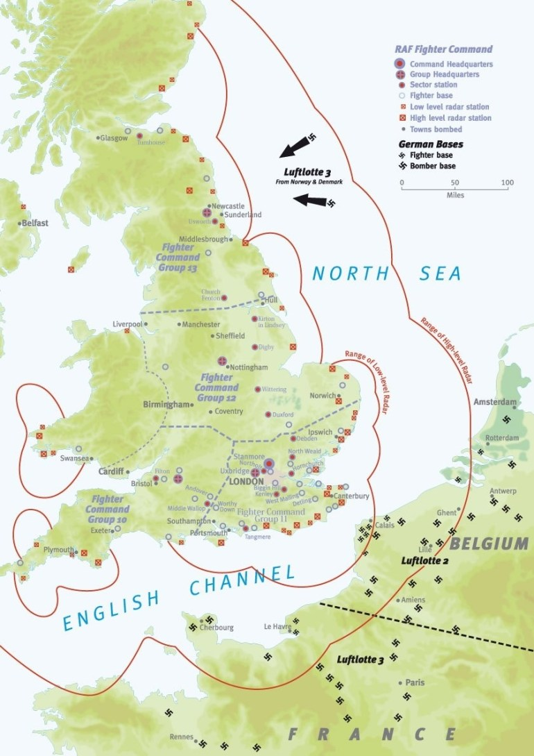 Battle Of Britain Map: An Overview – Military History Matters within Ww2 German Maps Of Britain