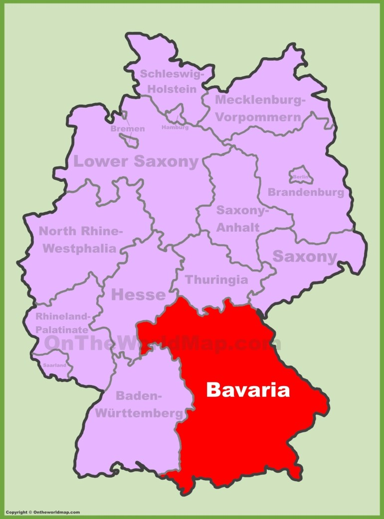 Bavarian Map And Travel Information | Download Free Bavarian Map pertaining to Bavarian Alps Germany Map