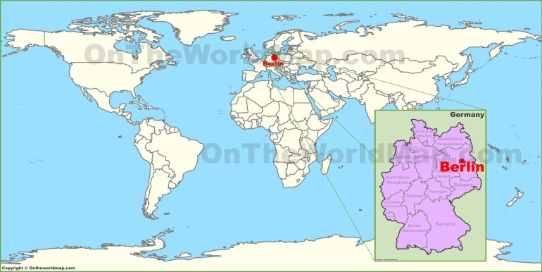 Berlin On The World Map with regard to Germany Map In World Map