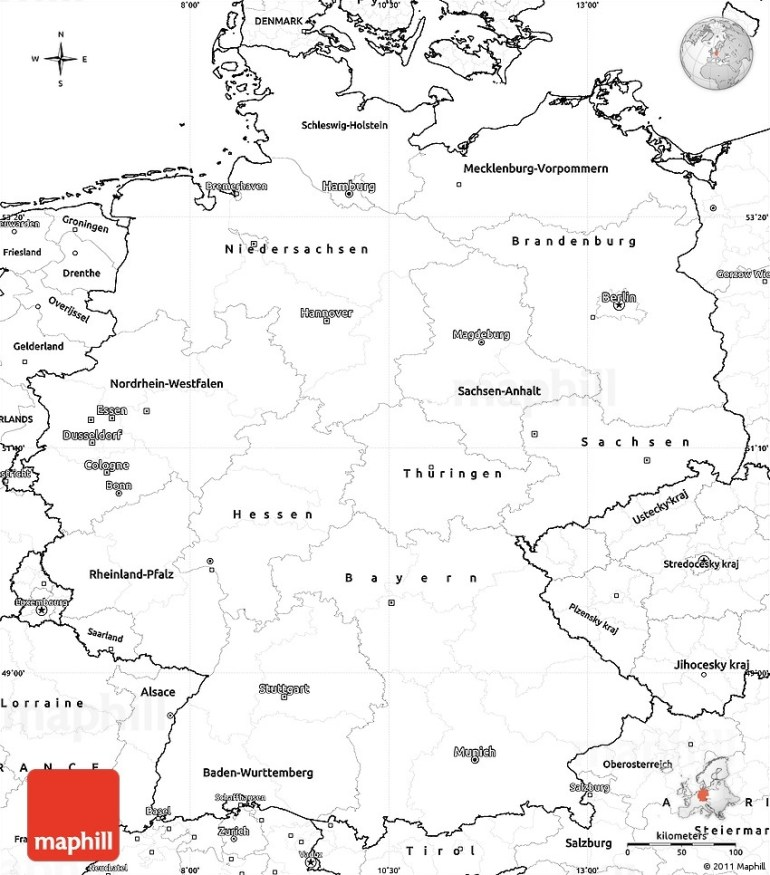 Blank Simple Map Of Germany throughout Outline Map Of Germany And Surrounding Countries
