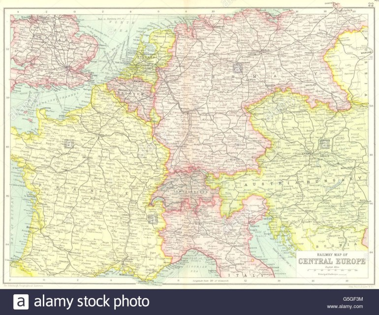 Central Europe Railways: France Germany Austria-Hungary Switzerland intended for Map Of France Germany And Austria