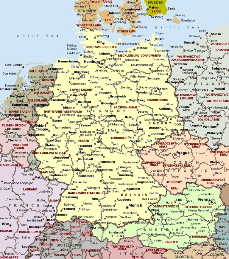 Cities Of Germany On Detailed Map. Detailed Map Of Cities Of Germany inside Map Of Germany And Surrounding Countries With Cities