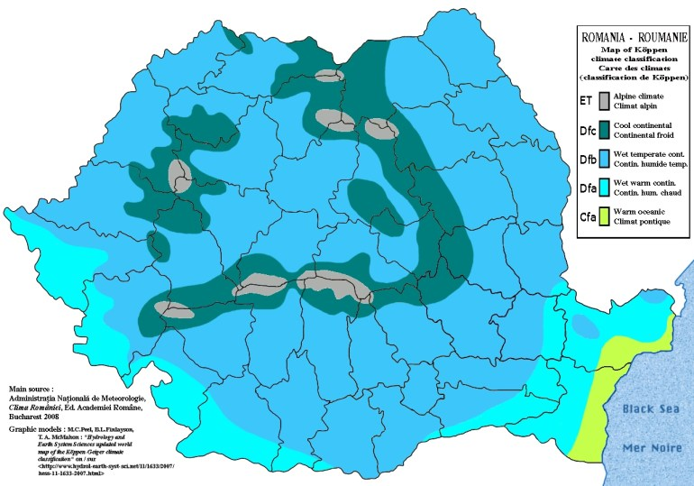 Climate Of Romania - Wikipedia in Germany Climate Zone Map