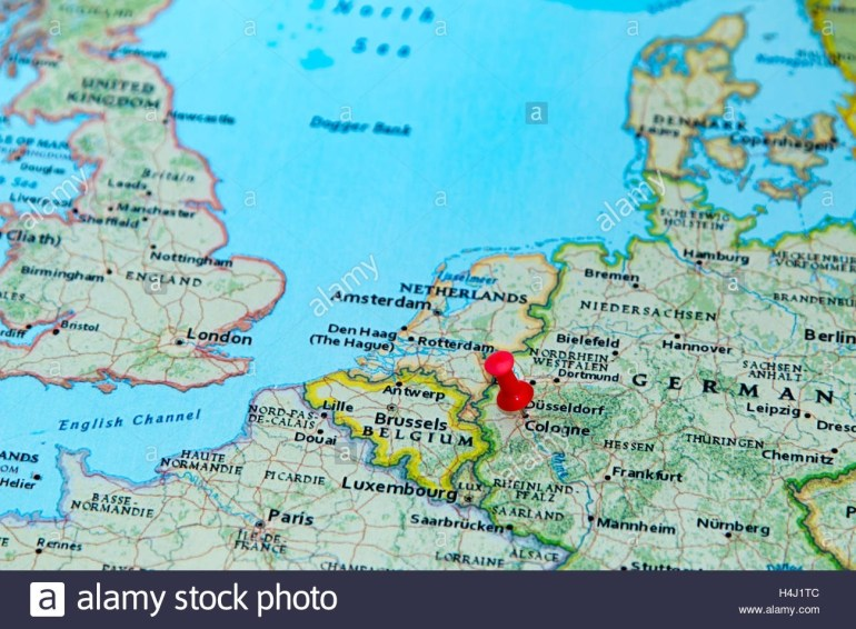 Cologne, Germany Pinned On A Map Of Europe Stock Photo: 123327804 within Cologne Germany Map Europe