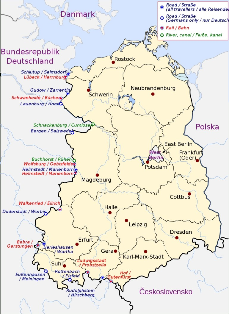 Crossing The Inner German Border - Wikipedia for Map Of East Germany And Berlin