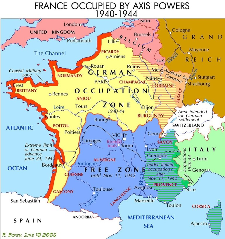 Demarcation Line (France) - Wikipedia with Map German Occupation During Ww2