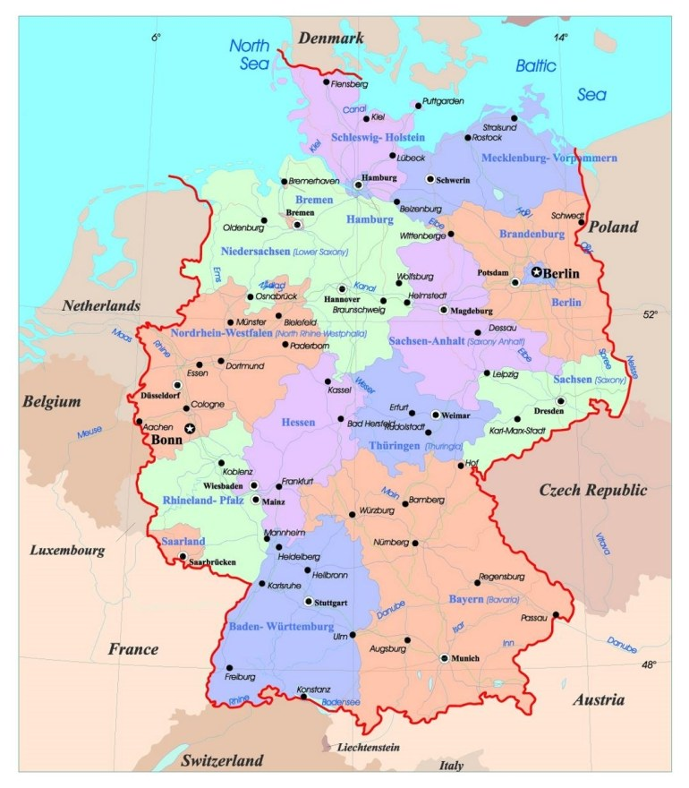 Detailed Administrative Map Of Germany With Major Cities | Germany with regard to Map Of Germany With Major Cities