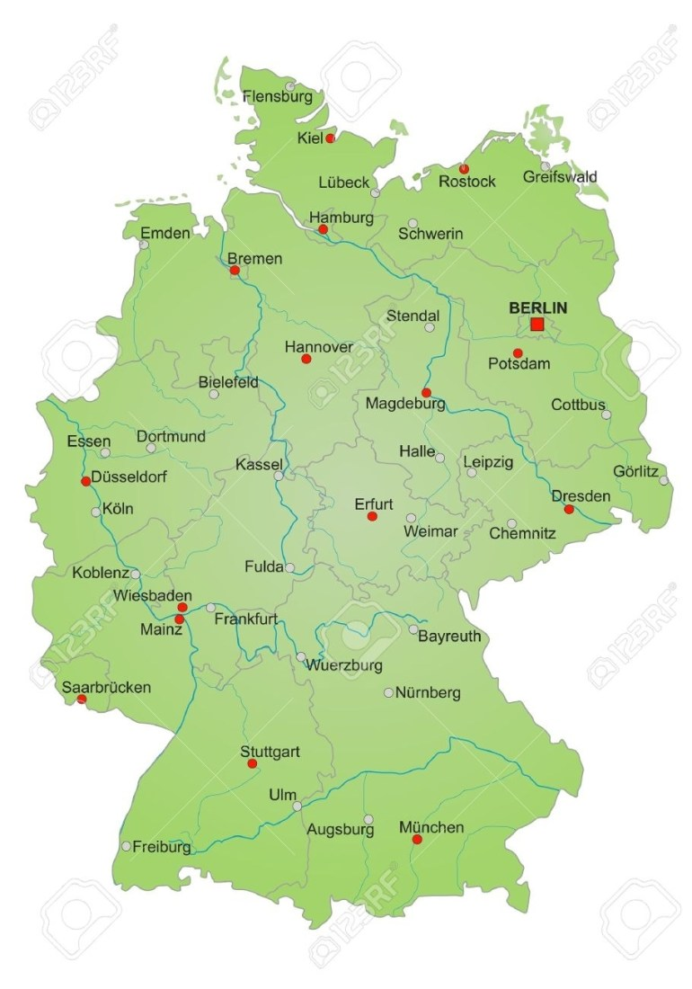 Detailled Map Of Germany Showing Cities, Rivers And All States inside Map Of Germany With States And Cities