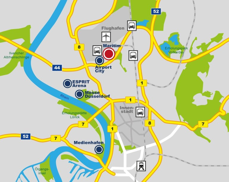 Directions | Maritim Hotel Düsseldorf intended for Dusseldorf Location Germany Map