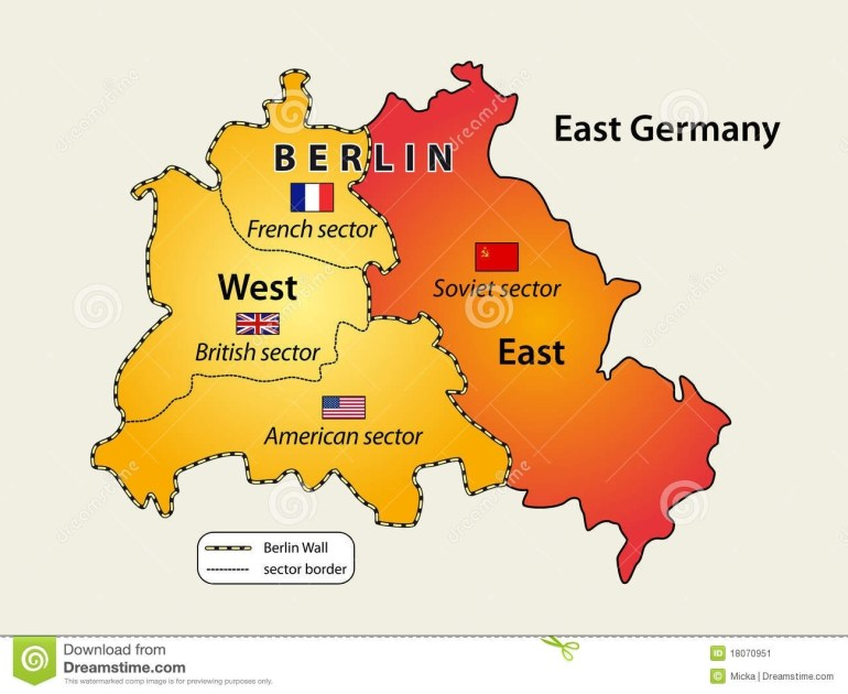 Divided Berlin Stock Vector. Illustration Of East, German - 18070951 intended for Berlin East Germany Map