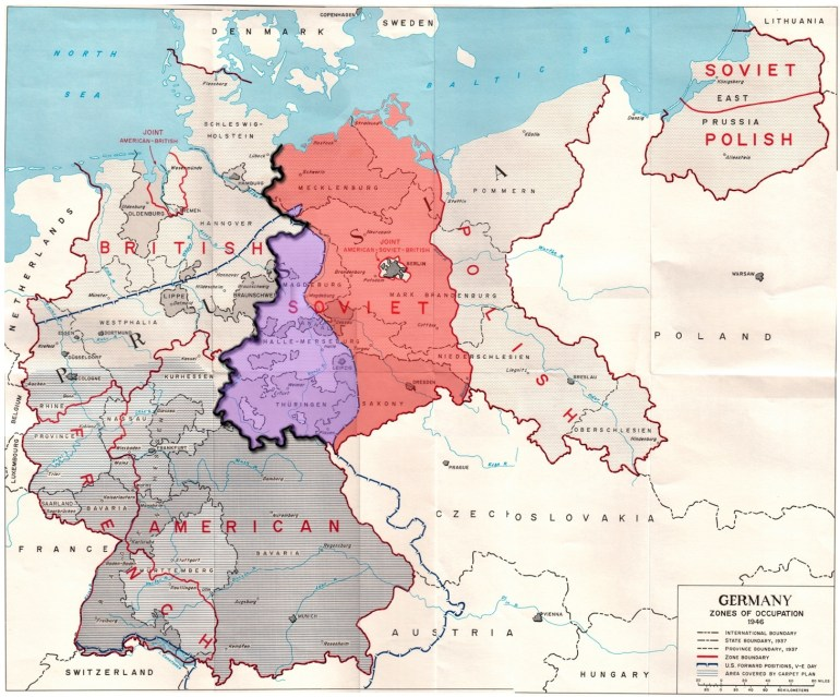 File:germany Occupation Zones With Border - Wikimedia Commons intended for East West Germany Border Map